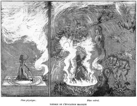 Papusov crtež onoga što se dešava na astralnom planu tokom rituala