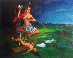 Machig Labdron  uklanja svoje unutraćnje zlom rad savremene moongolske umetnice Soyolmaa Davaakhuu