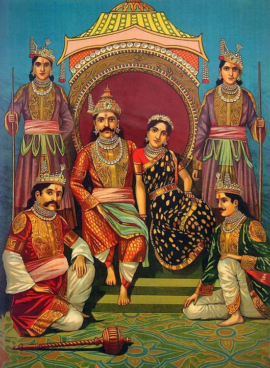 Draupadi, princeza iz Mahabharate, sa svojih pet muževa