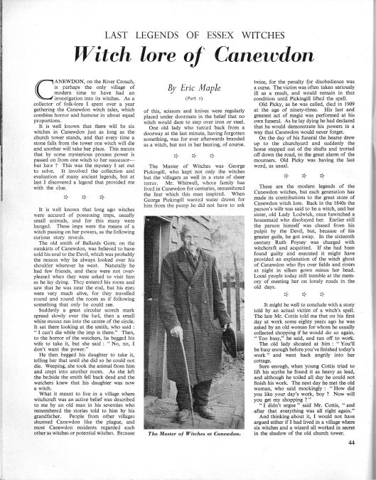 Eric Mapleov članak o Pickingillu i tradicionalnom veštičarstvu objavljen u Essex Countryside Magazinu