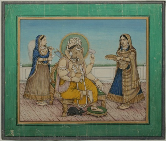 Ganesha attended by wives Riddhi and Siddhi. Delhi, circa 1880