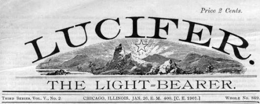 zaglavlje Lucifera, anarhističkog magazina koji je izlazio u Americi u 19. veku