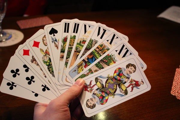 Hand of tarock cards